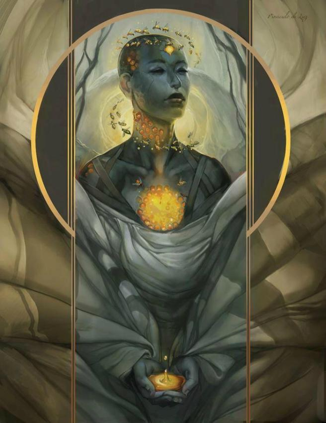 mujer esfera luz
