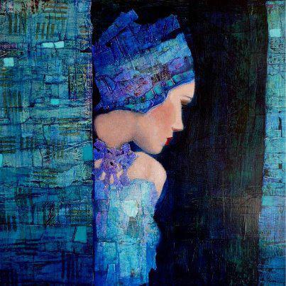 mujer pinceladas azul