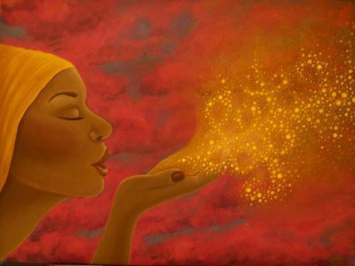 mujer dibujo soplo energia