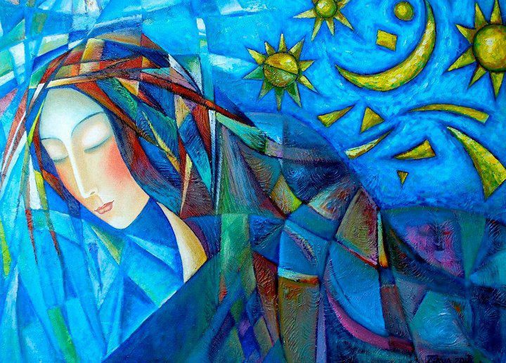 mujer dibujo luna y sol