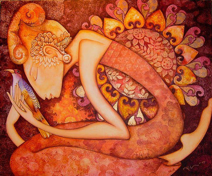 mujer dibujo naranja