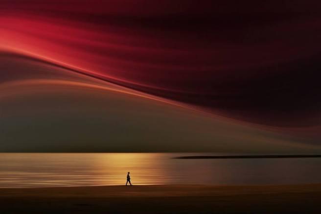 hombre en horizonte