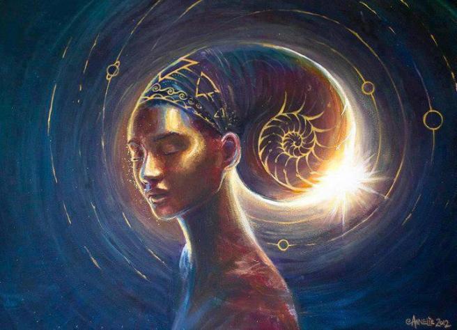 mujer pañuelo en espiral