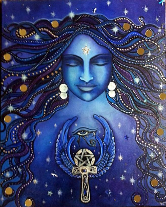 mujer azul energia