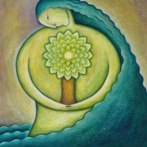 mujer circulo arbol y mar