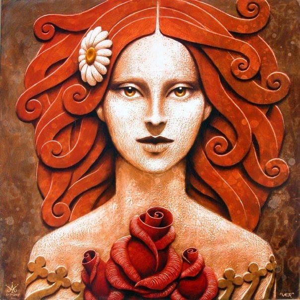 mujer dibujo en naranja