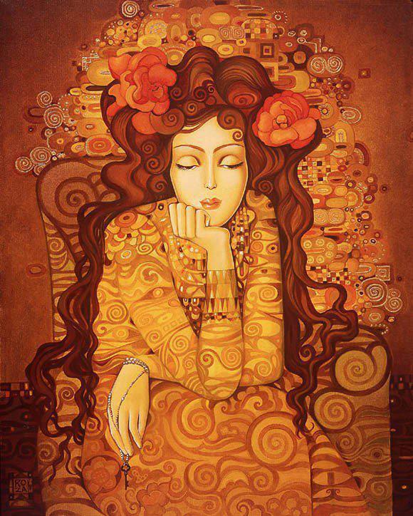 mujer tonos naranja