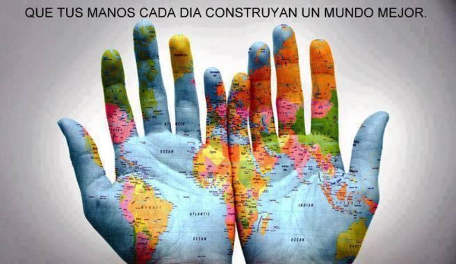 manos el mapa mundi