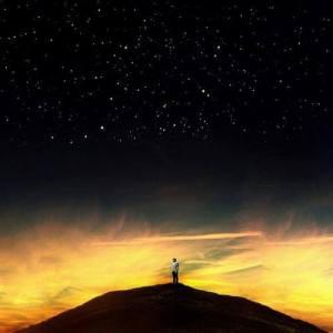 hombre ante las estrellas