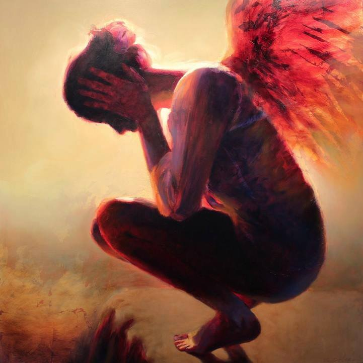 mujer angel rojos